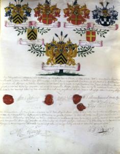 Kwartierstaat van Caspar Anthony van Haersolte, 1762.